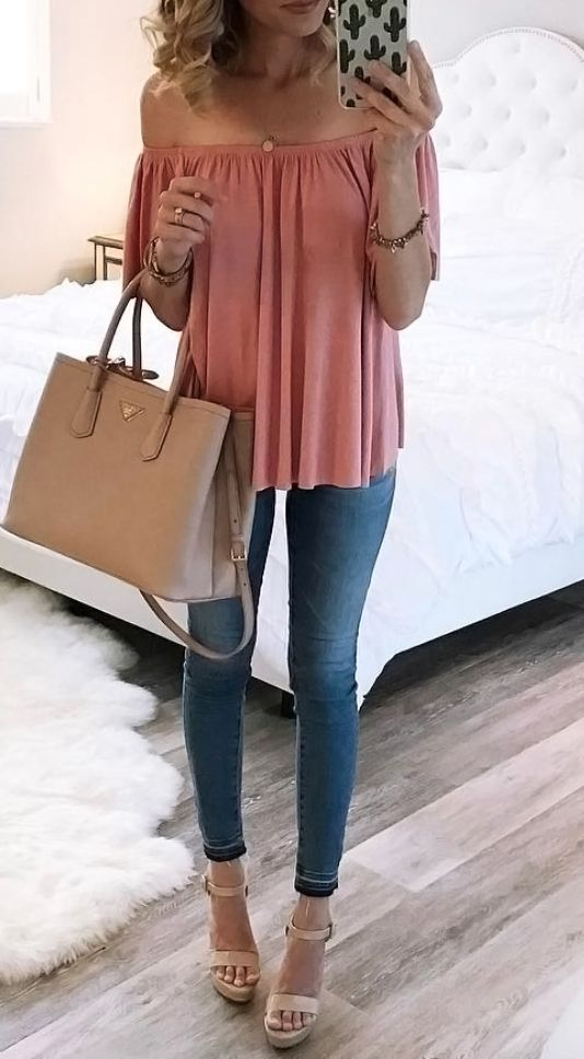 Off the shoulder top, jeans and heels outfit.