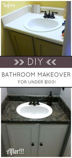 Budget Bathroom Makeover. AMAZING WHAT A LITTLE PAINT CAN DO!  Transform your bathroom with Giani Granite Countertop Paint and Nuvo Cabinet Paint for under $100! Simple DIY home renovation.