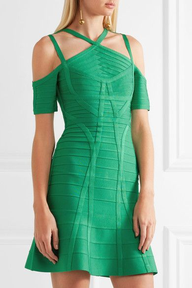 Green bandage Concealed hook and zip fastening at back 90% rayon, 9% nylon, 1% spandex Dry clean Imported