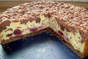 Schokoladen – Streuselkuchen mit Vanille – Kirsch – Füllung   – kochbuch