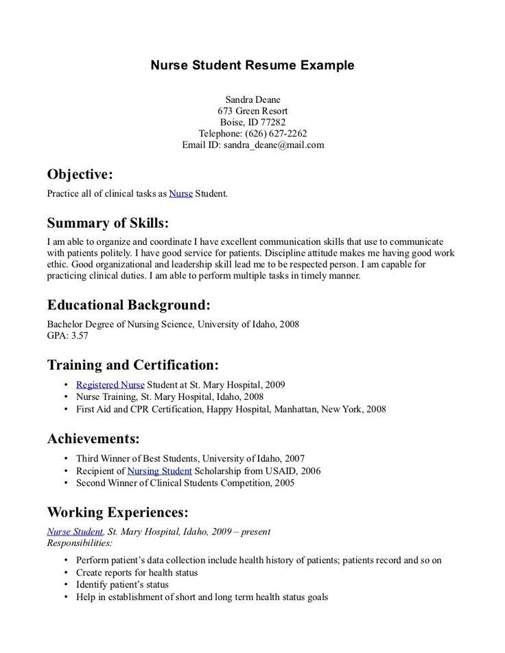 Registered nurse resume sample work pinterest nursing resume