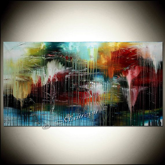 LARGE ARTWORK BLUE painting abstract art Modern by largeartwork