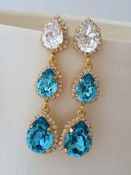 Teal turquoise LONG Chandelier earrings   turquoise earrings   teal turquoise wedding   bridal earrings   turquoise crystal earrings by EldorTinaJewelry   http://etsy.me/1FwCp1K