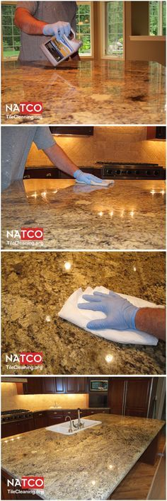 Steps involved in sealing a granite countertop.