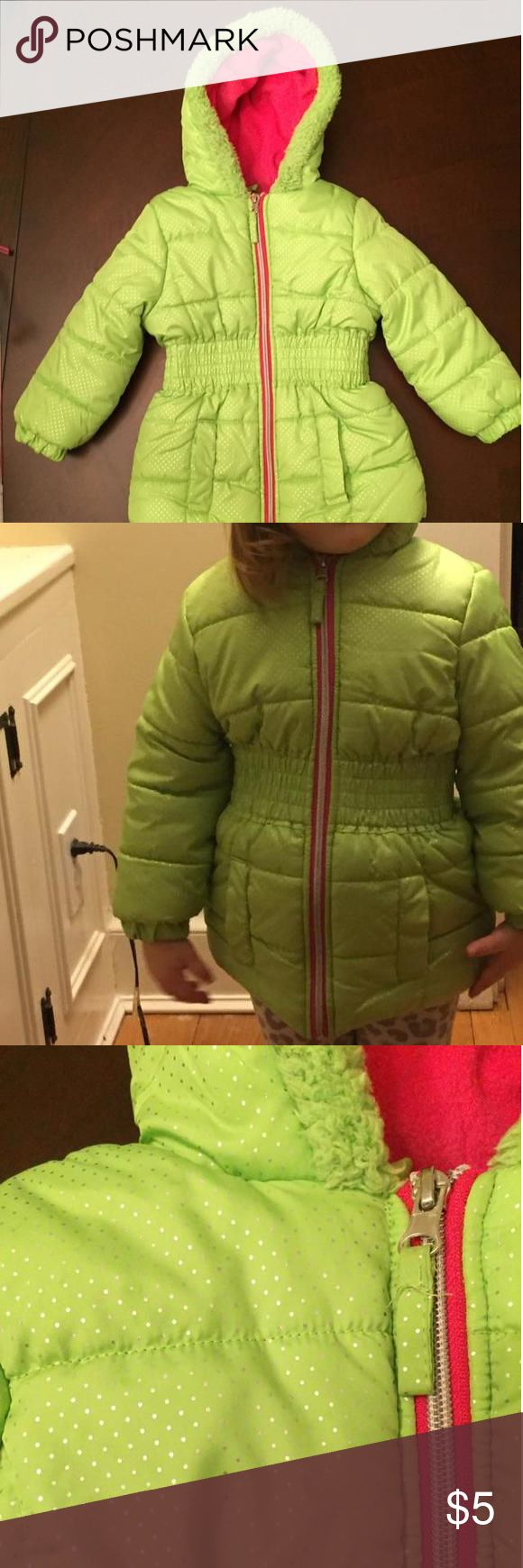 Pink Platinum Green Sparkle Snow Coat So cute! Bright green coat with sparkle detail is lined in hot pink to keep your toddler or preschooler cozy in cold weather! My 3 year old is pictured and she can just squeeze into the coat as she's already in a size 4. Dresses