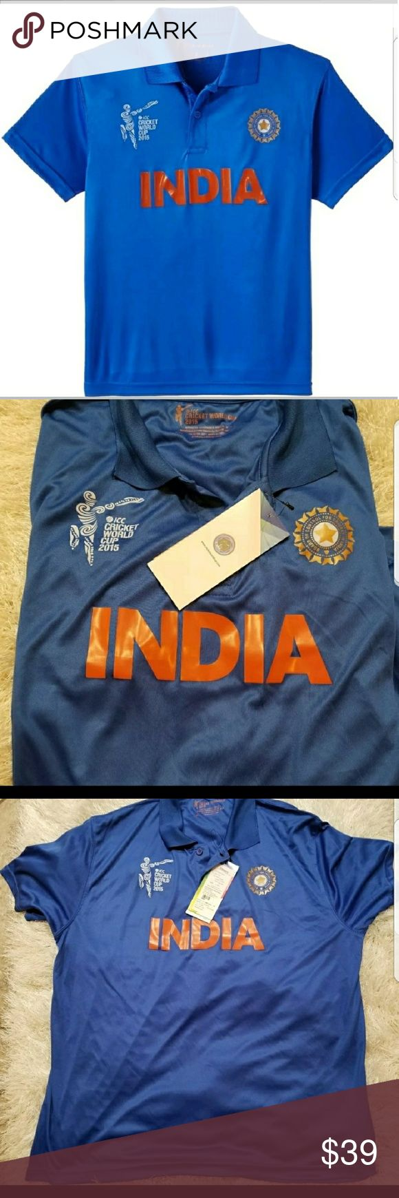 2015 ICC Cricket World Cup India Jersey Twenty20 NWT 2015 ICC Cricket World Cup India Jersey World Twenty20 Jersey XXL  Brand new item.  Size is XXL - looks like it fit a large or xl though.  Measurements 21inches armpit to armpit armpit to hem 15.5  Thanks for looking! Twenty Shirts