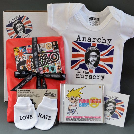 Punk Baby Gift Box. Anarchy in the Nursery. Cool baby gift! Alternative baby shower gift boxes.