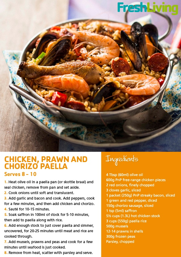 September 2012 issue features a sumptuous summer Paella.    #Chicken #prawn #chorizo #paella #lunch #dinner #picknpay #freshliving#seafood #recipe #picknpay #freshliving
