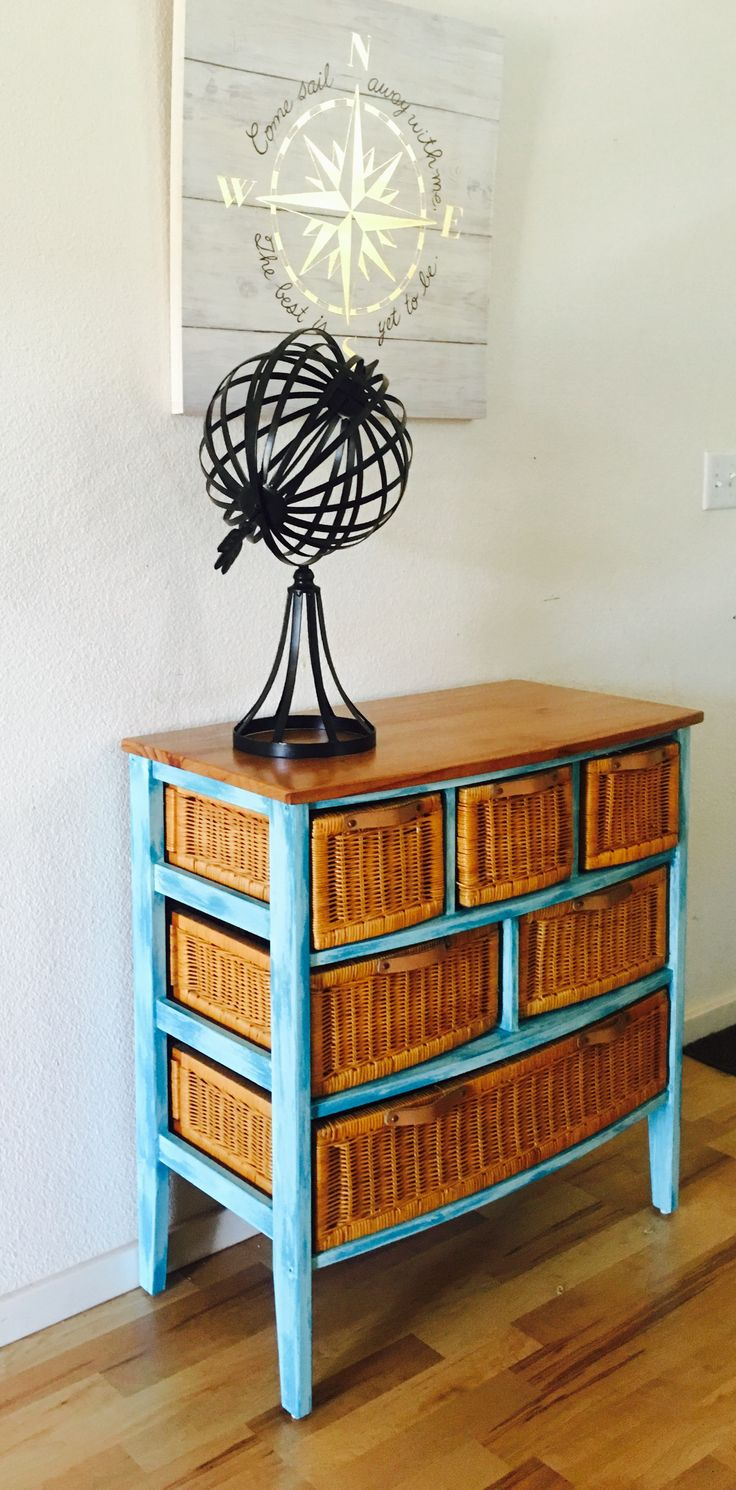 wicker basket dresser
