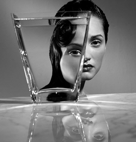 glass distortion portrait