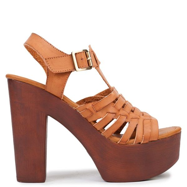 Camel multistrap high-heel sandal with platform. Features wooden chunky heel and fastens with adjustable ankle strap.