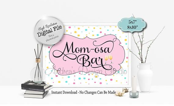 Mom-osa Bar Sign Mimosa Bar Sign Baby Shower Sign Party