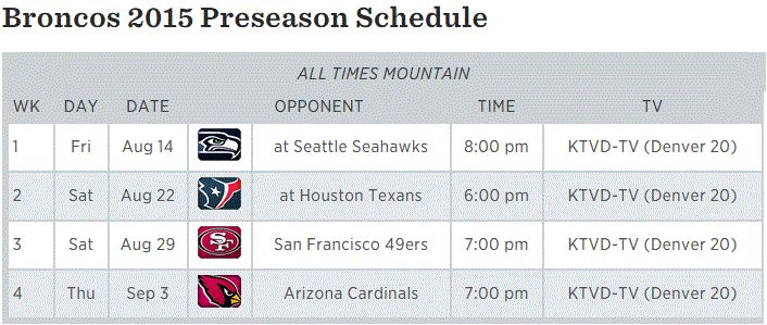 Here's the Broncos' finalized preseason slate