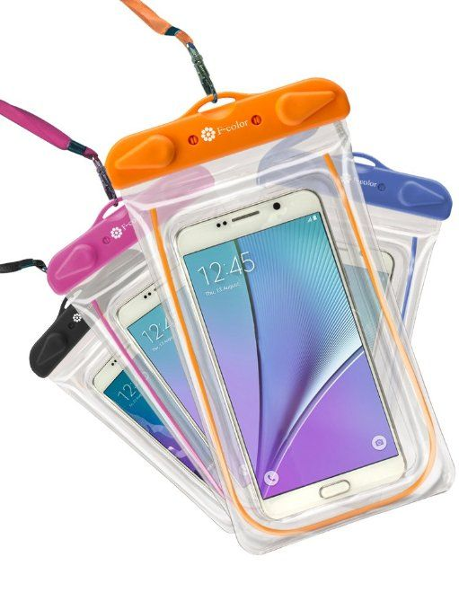 Waterproof Case, 4 Pack F-color Clear Transparent TPU Perfect for Rafting, Kayaking, Swimming, Boating, Fishing, Skiing, Protect iPhone 6S Plus SE, Galaxy S6 S7 Edge, LG G5 etc. Orange Blue Black Pink