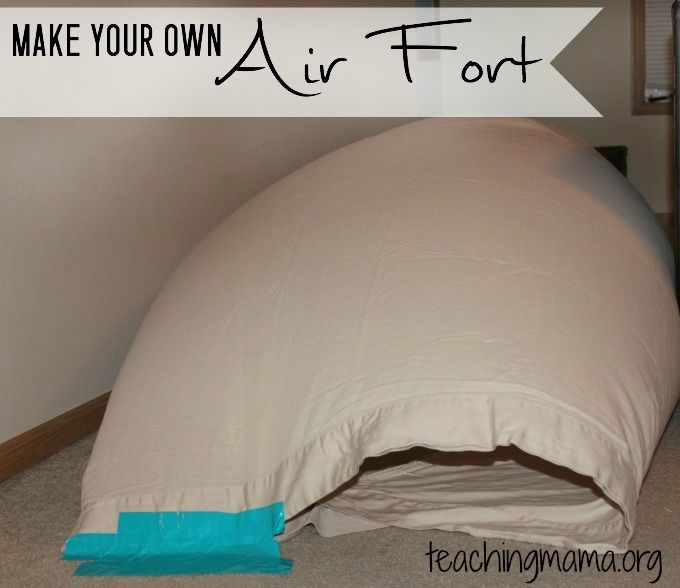 DIY Air Fort -- Make a neat fort with a bed sheet and a fan! Kids will love this easy play idea!
