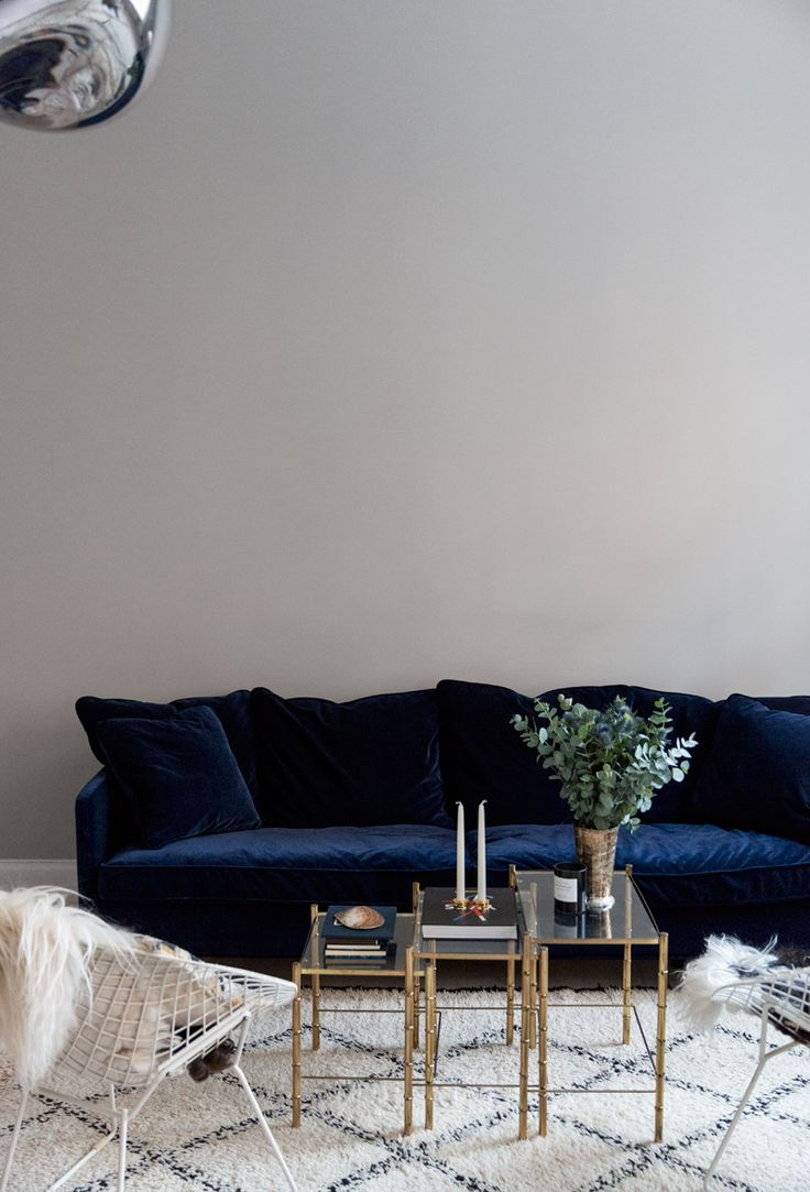 The Perfect Blue Velvet Couch | Carolina Engman Home | Farrow and Ball Pavilion Gray