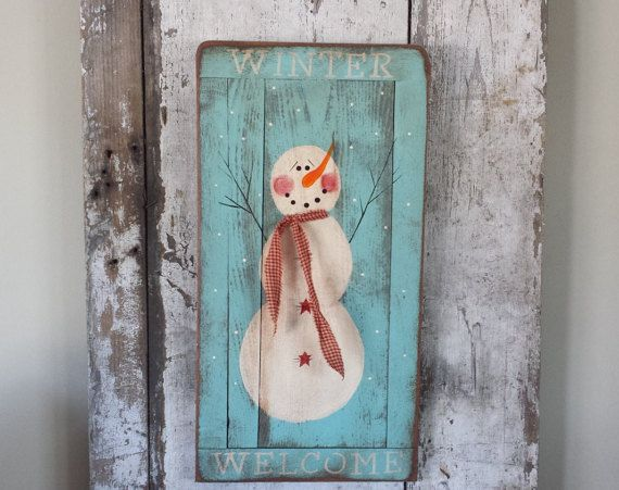 Primitive Snowman, Primitive Winter Decor,Snowman Sign,Winter Welcome,Rustic Winter Decor,Painted Snowman,Country Winter Decor,Christmas