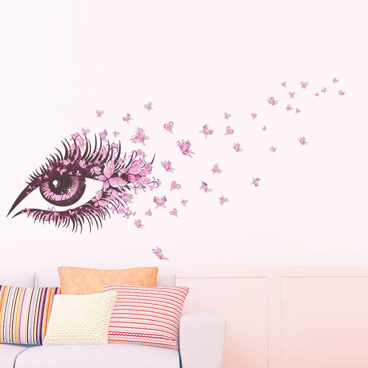 EHOME Pink Eye Butterfly Wall Sticker DIY Home Decor Girls Rooms Wall Decals Removable Vinyl Sticker Mural -- AliExpress Affiliate's buyable pin. Click the VISIT button to find out more on www.aliexpress.com