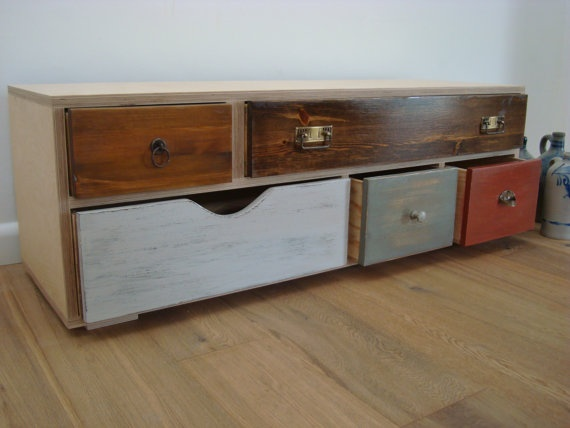 sideboard ST1 unic by benjaminmangholz on Etsy, $990.00: Furniture Arrangement, Decor Ideas, Old Drawers, Front Rooms, Drawers Pull, Boys Rooms, Colors Palettes, Tv Stands, Nice Benches