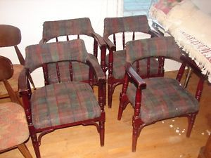 4 Rare Antique Cherrywood Chairs 1 Antique Leather office chair