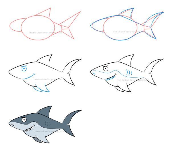 Картинки как нарисовать акулу карандашом поэтапно электроэнергии