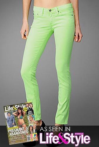Life& Style Magazine: AG Denim Stilt Jean In Neon Green by AG Denim-Adriano Goldschmied