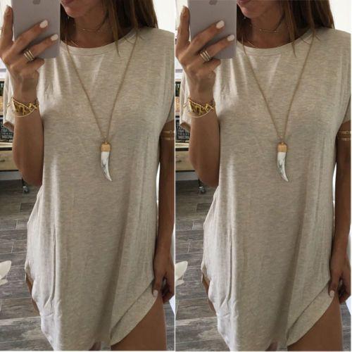 USA-Women-Summer-Casual-Short-Sleeve-Mini-Dresses-Long-Tops-Party-Beach-TUNIC