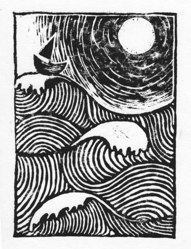 'sloeblack, slow, black, crowblack, fishingboat-bobbing sea' linocut print by Laura Fox Gill.