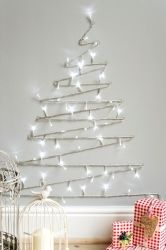 Christmas tree made with a lighting garland. Easy alternative Christmas tree!