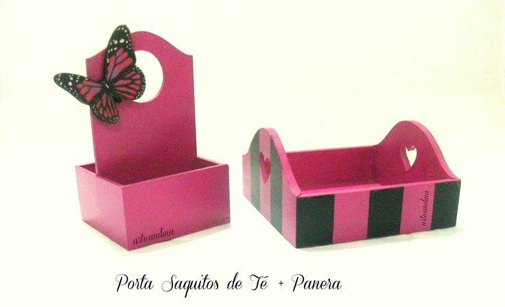 Porta Saquitos de Té de mesa y mini bandeja. Small  wood tray and table tea box.