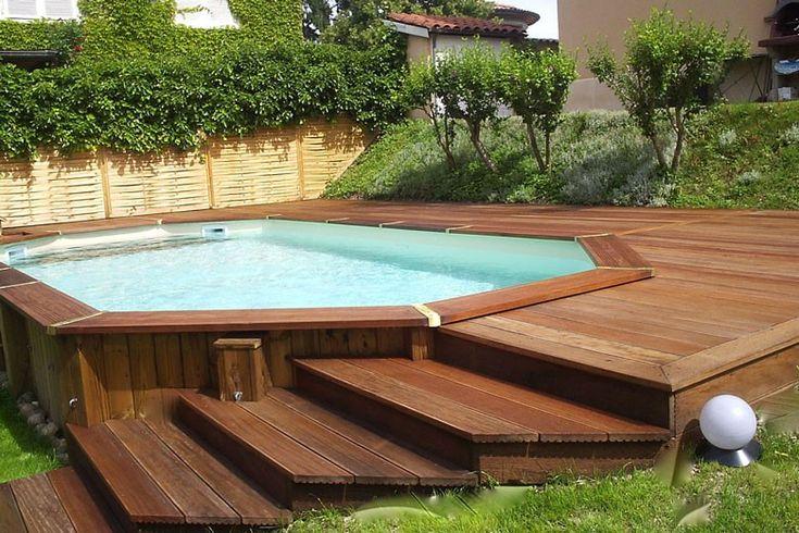 Piscine En Bois Semi Enterree 3 299 Leroy Merlin Pools Backyard Inground Above Ground Pool Landscaping Backyard Pool Landscaping