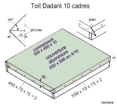 toit ruche dadant 10 cadres hive bees