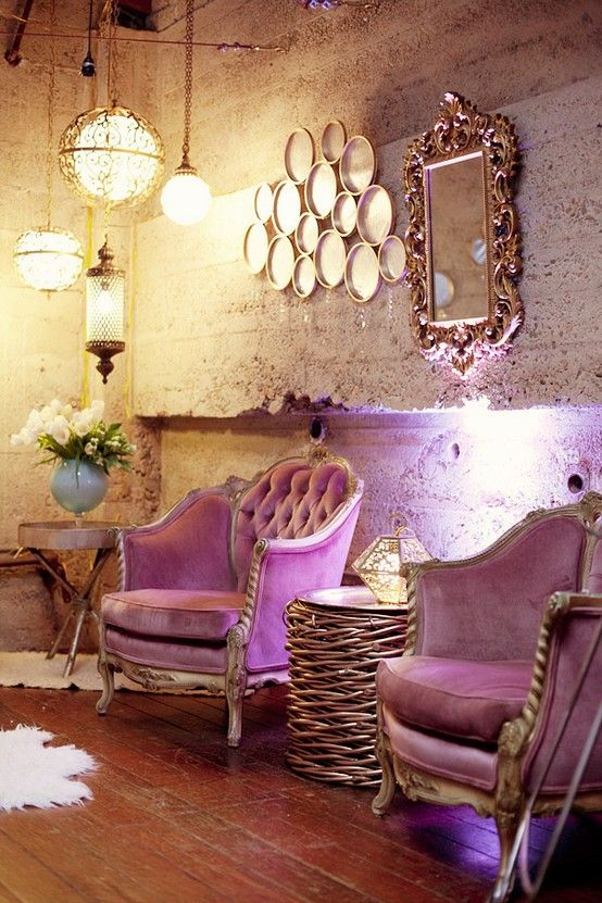 Lavender chairs & the 3 hanging lamps are to DIE for.