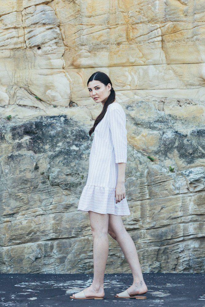 Winter Eclipse Dress - peach stripe | Carlieballard
