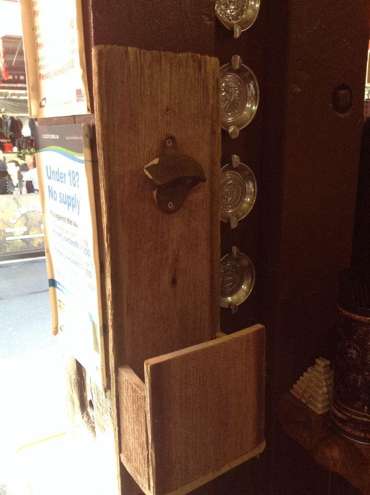 vintage bottle opener. Reclaimed wood.