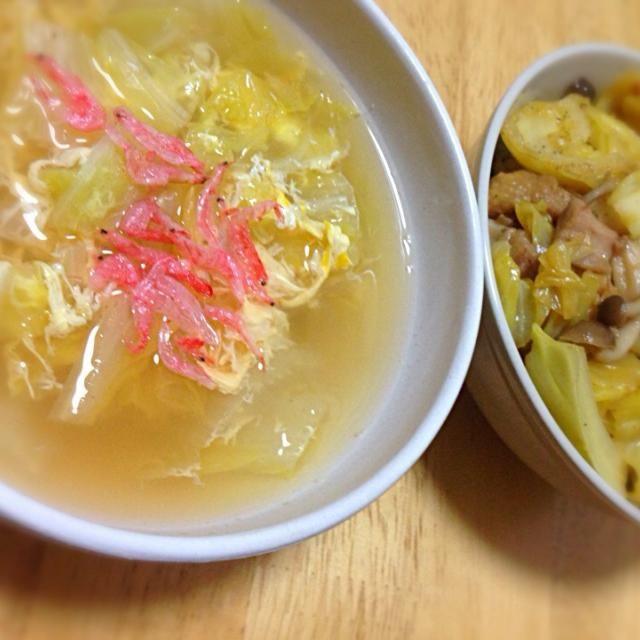 簡単手抜き料理目指してまーす♪ - 5件のもぐもぐ - 簡単鳥肉とキャベツののっけ丼、白菜の和風かき卵スープ by キラキラ