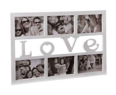 Dekorativer+Bilderrahmen:+In+diesem+weißen+Bilderrahmen+mit+Platz+für+sechs+Fotos+und+Love-Schriftzug+setzen+Sie+Ihre+Lieblingsfotos+perfekt+in+Szene.