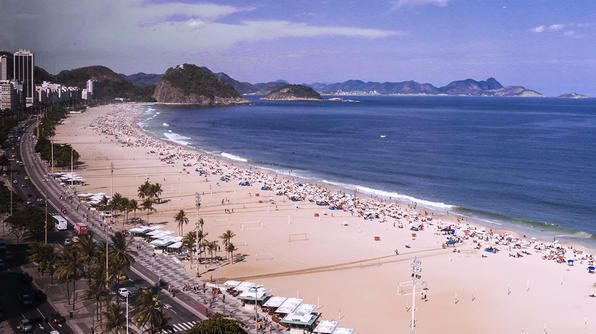 A panoramic view of Praia dos Pepinos, located in Sao Conrado.Tv Show