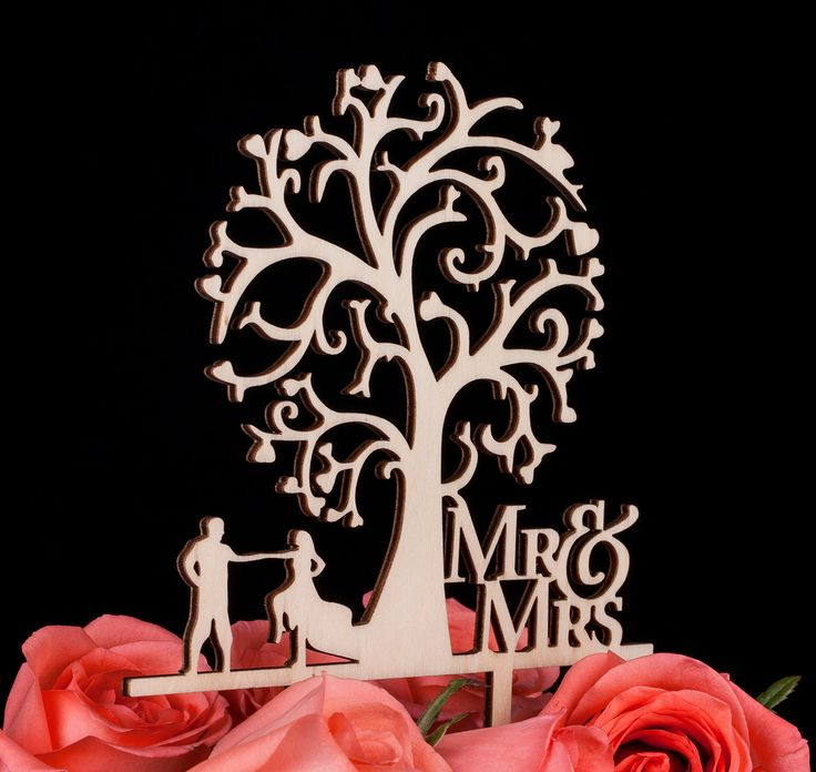 LOVENJOY Gift Box Pack Mr and Mrs Dancing Bride and Groom Tree Silhouette Rustic Wedding Cake Toppers Wood (5.7-inch)