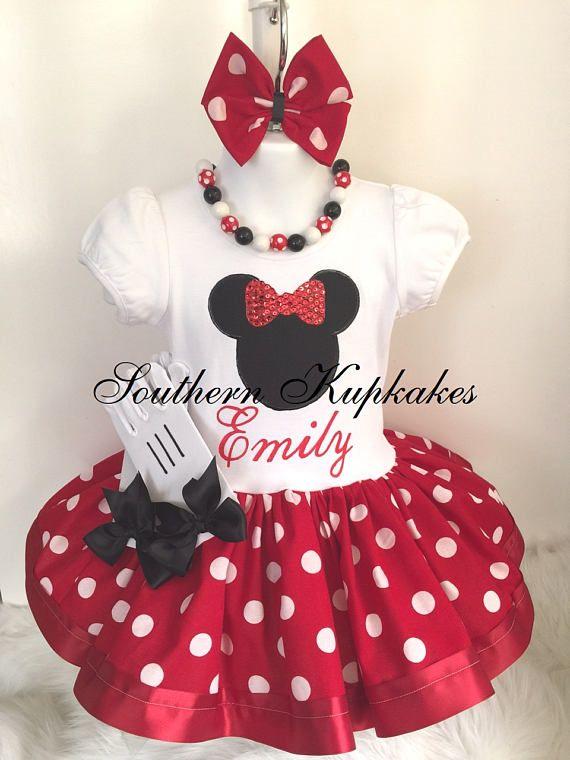 Minnie Mouse Red Black dots 4th Fourth Birthday Ribbon Tutu Outfit Shirt Set