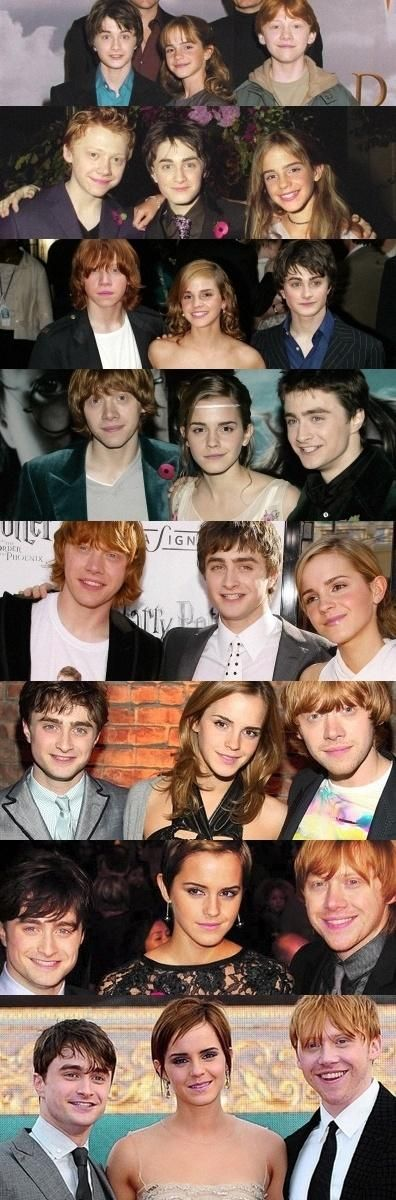 Dan, Emma, and Rupert throughout the years.