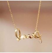 Naszyjnik love z cyrkonią  złoty