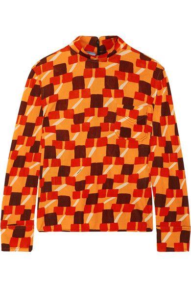 Prada - Printed Crepe Top - Orange - IT42