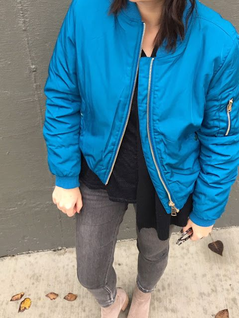Gray beret   blue bomber jacket