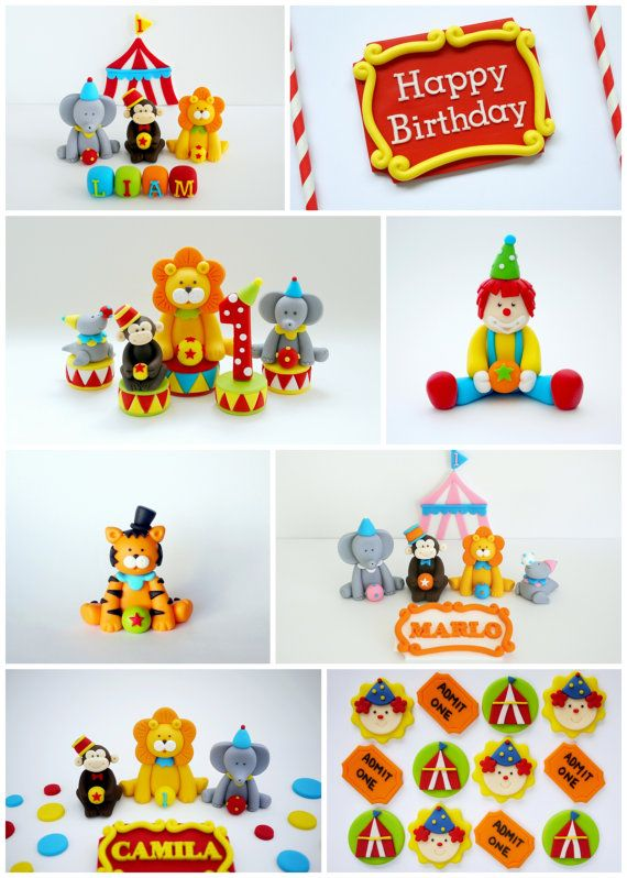 Fondant circus cake topper. Circus birthday by SugarDecorByLetty