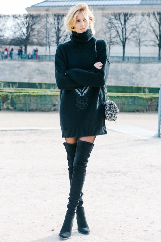 Latest fashion trends: Model street style | Turtle neck oversize sweater dress with over the knee boots