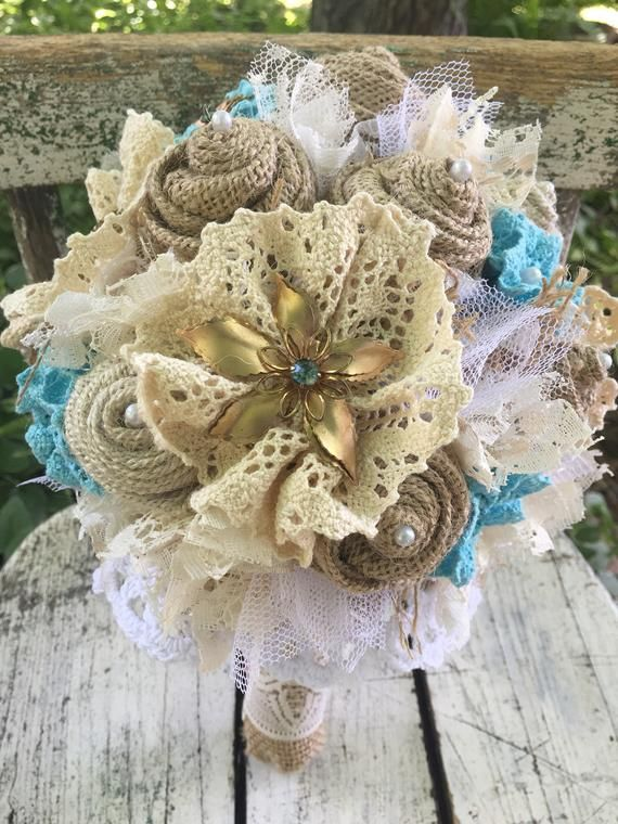 Brooch Bouquet Burlap And Lace Wedding Bouquet Turquoise