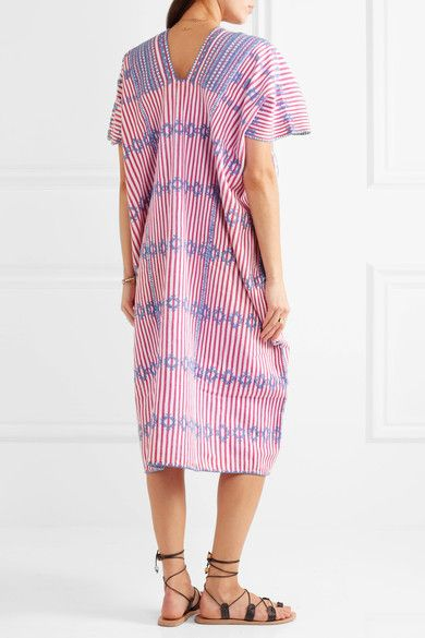 Pippa Holt - Embroidered Striped Cotton Kaftan - Pink - One size
