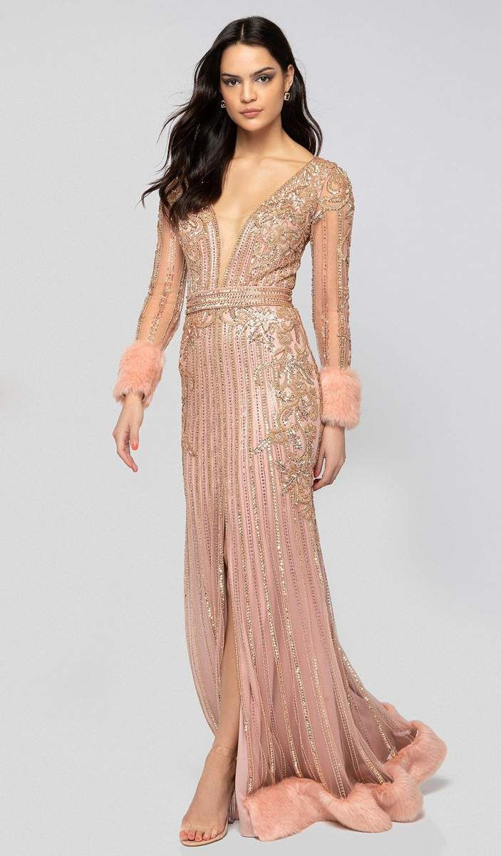 ddf8dbb4a65bf Terani Couture - 1911GL9499 Bead Embellished Plunging Evening Gown ...