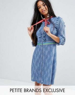 Sister Jane Petite Mini Dress In Lace With Sporty Trims